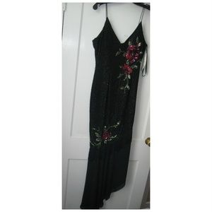 NEW Cassandra Stone Black Beaded Floral Gown 8